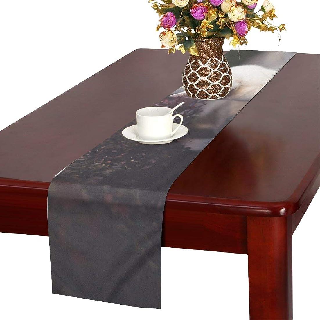 太鼓腹親密な子羊GGSXD テーブルランナー 面白い 猫 クロス 食卓カバー 麻綿製 欧米 おしゃれ 16 Inch X 72 Inch (40cm X 182cm) キッチン ダイニング ホーム デコレーション モダン リビング 洗える