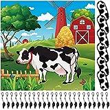 Juego de Poner Cola a Vaca Juego de Fiesta de Vacas Suministro de Póster de Juego de Vaca Grande con 24 Pegatinas de Colas Reutilizables Decoración de Tema de Vaca para Fiesta