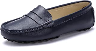 SUNROLAN Casual Womens Genuine Leather Penny Loafers Driving Moccasins Slip-On Boat Flats Shoes