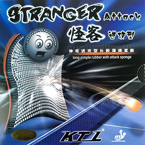 KTL Stranger Attack Long Pips-Out Table Tennis (Ping Pong) Rubber with Sponge (Black, 1.2mm)
