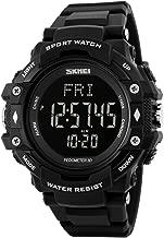 Heart Rate Watch Men Digital Watch Men's with Pedometer Calorie Monitoring Military Waterproof - Black