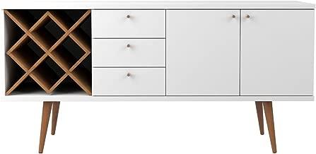 Manhattan Comfort Utopia Sideboard Buffet Stand, White Gloss and Maple Cream