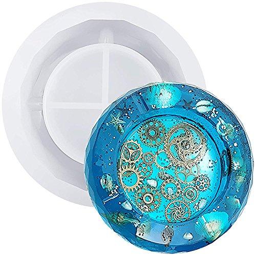 Aschenbecher, Kunstharz, DIY, Silikon-Kristall, runde eingebettete Form, Handarbeit, Epoxidharz, transparent, 11,9 cm