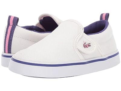 Lacoste Kids Gazon 319 1 (Toddler) (Off-White/Purple) Kid