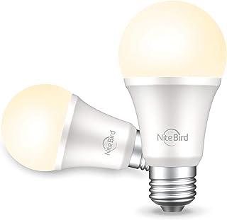 Smart Light Bulb Works with Alexa,Echo,Google Home and Siri,NiteBird Dimmable LED Light Bulbs 800 Lumen Warm White A19 E26 2700K WiFi Light Bulbs,No Hub Required, 8W (75W Equivalent),2 Pack