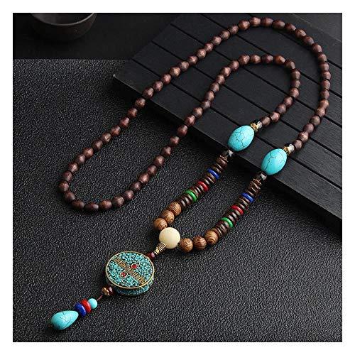 MSSZH Halskette Nepal Handgemachten Schmuck Anhänger Vintage Ethnischen Stil Pullover Kette Holzperlen Lange Weibliche Dekoration, B