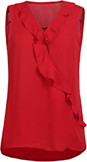 Women's Sleeveless Chiffon Blouse Shirt Sexy V Neck Ruffle Front Tank Top
