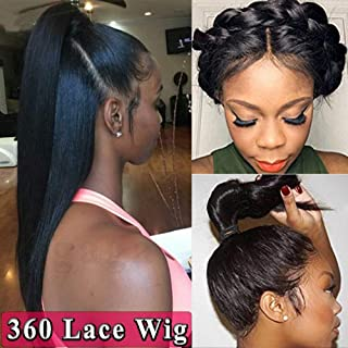 Pre Plucked 360 Lace Frontal Wig 100% Brazilian Remy Human Hair Silky Straight Lace Front Wig Natural with Baby Hair for Black Women 130% Density(1B Black,20inch)