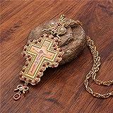 KJFUN Religieux Jésus Pendentif Collier pour Femmes Hommes Croix Pectorale Orthodoxe Pendentifs Pasteur Prière Articles