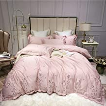 European Pink Cotton Satin Flower Embroidery Family Of Four Quilt Bed Linen Bedding Minimalist Style Hotel Gift Sets (Size...