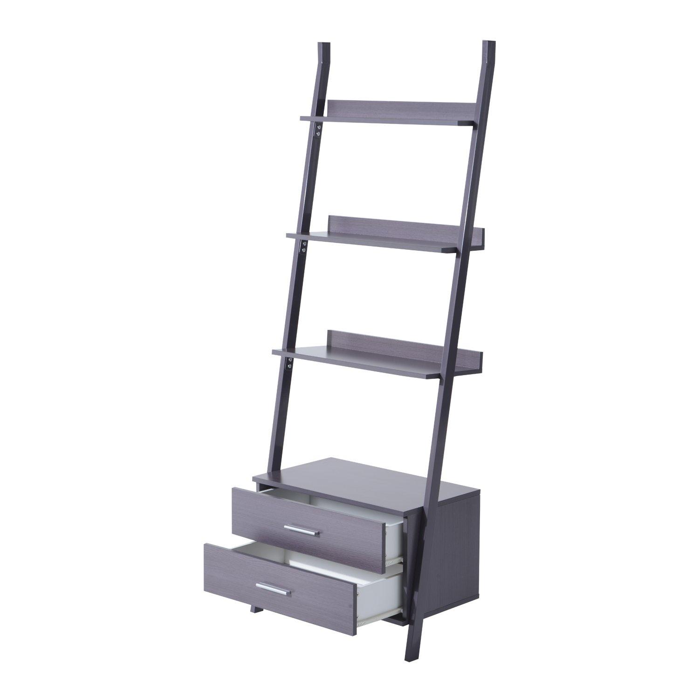 Homcom – estantería de madera con 4 baldas de librería, en forma de escalera y con 2 cajones: Amazon.es: Hogar