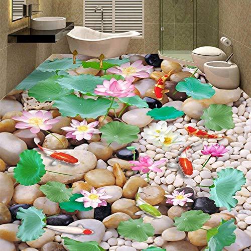 Estilo chino Pebble Lotus Carp 3D Paisaje Azulejos de suelo Papel tapiz mural Baño Dormitorio PVC Vinilo impermeable Pegatinas de suelo-200 * 140cm