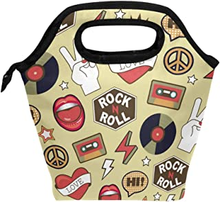 Mydaily Lunch Box Rock Music Doodle Reusable Insulated School Lunch Bag for Women Kids