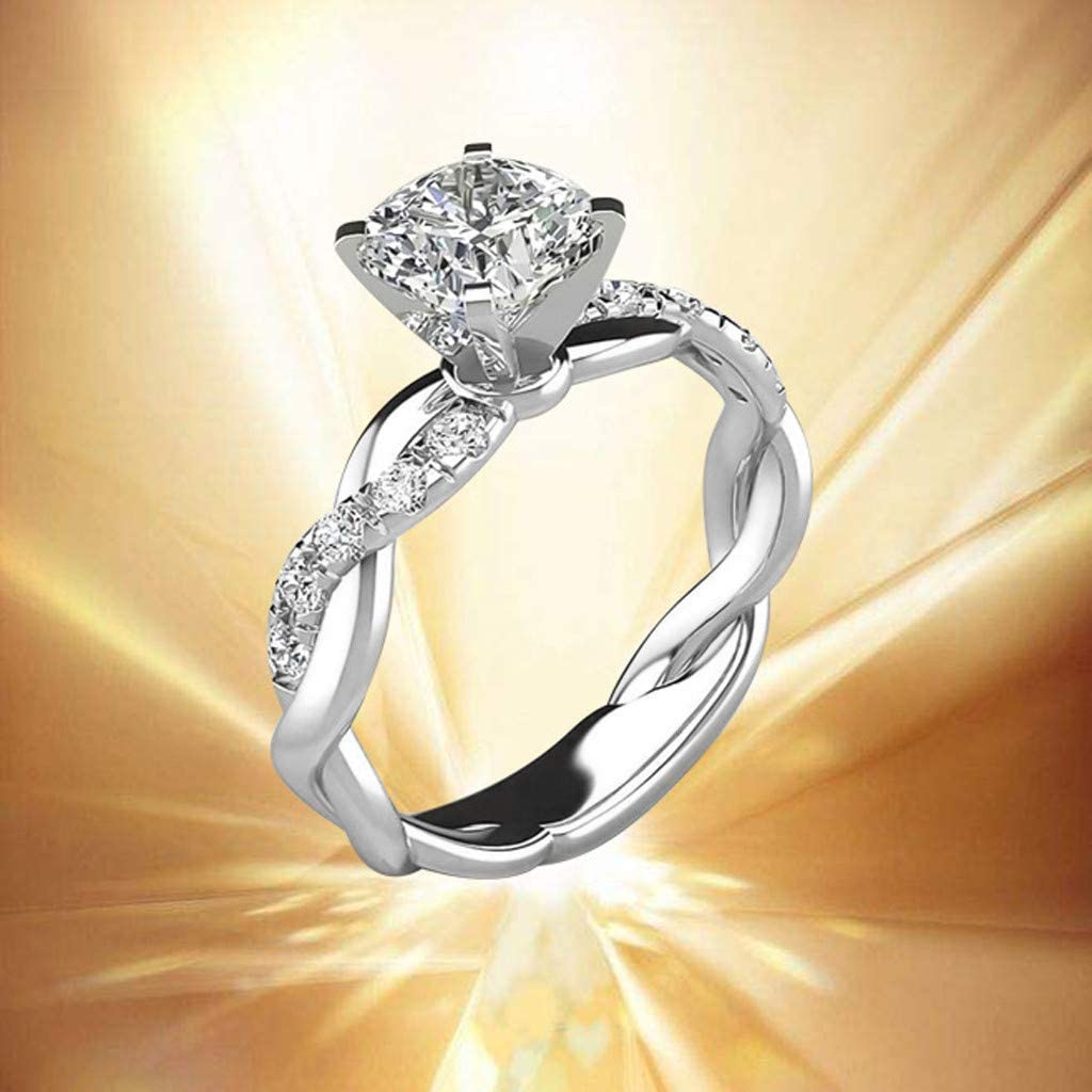 Mixpiju Womens Ring Cubic Zirconia Solitaire Platinum Plated Engagement Rings Cubic Diamonds for Women Girls