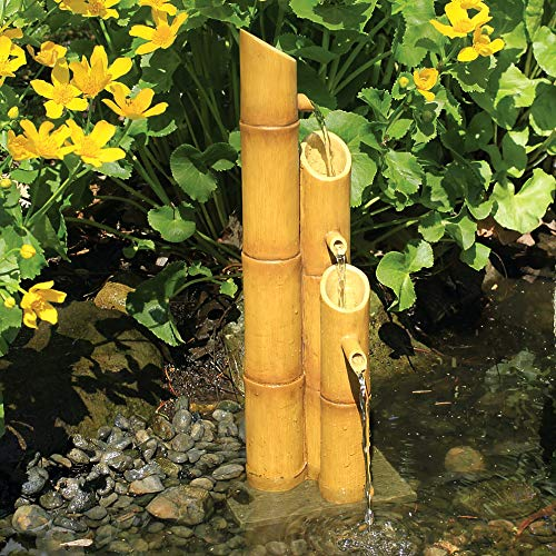 Aquascape 78307 Pouring Three-Tier Bamboo Pond and Garden Water Fountain, Yellow