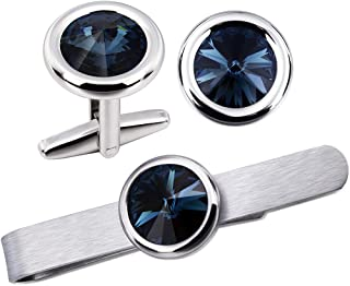 AMITER Swarovski Crystal Cufflinks and Tie Clips Set for Men Shirts Wedding Business Jewelry with Gift Box