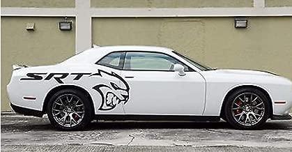 SRT Hellcat Side Truck Decals Dodge Mopar Challenger Charger Avnger Stickers Vynil Car Graphics (Black)