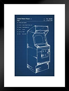 Poster Foundry Retro Arcade Video Game Cabinet Official Patent Blueprint Matted Framed Wall Art Print 20x26 inch