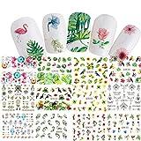 Saint-Acior Lot de 12 pc Stickers Ongle Autocollants à Ongles Nail Art Design Fleur Nail Art Sticker Autocollant D'astuce pour la...