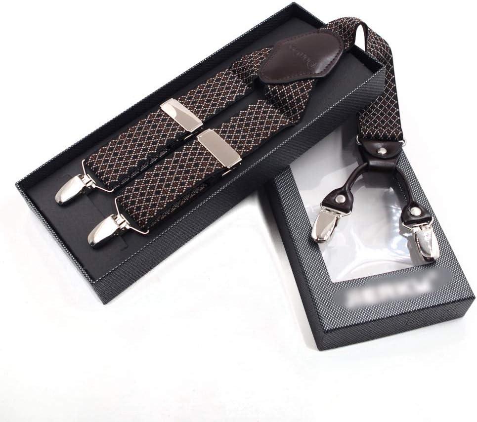Canvas Belt Boxed 1.4 Inch Men's Jacquard Strap X-Back Adjustable 4 Clip Suspenders, (Color : Brown)