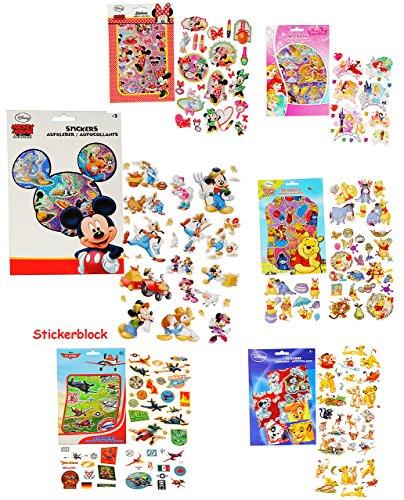 alles-meine.de GmbH 1 Stickerblock - mit 100 Stück _ Aufkleber / Sticker -  Disney Planes - Mickey Mouse - Winnie The Pooh - Bambi  - selbstklebend - Stickerblock - für Jungen ..