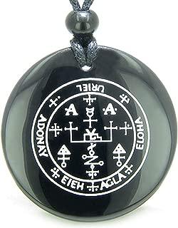 Sigil of The Archangel Uriel Amulet Black Agate Magic Pendant Necklace