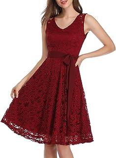 cocktailkleid rot KOJOOIN Damen Kleider Spitzenkleid Brautjungfernkleid für Hochzeit Abendkleider Elegant Knielang CocktailkleidVerpackung MEHRWEG