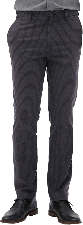 Banana Republic Mens Slim Fit Slim Leg Stretch Casual Pants Navy Blue Red Check
