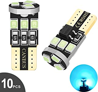 Audak 194 LED Bulb T10 W5W 2825 158 192 168 Canbus 9SMD 2835 Chipset Ice Blue Extremely Bright Non-polarity for Car Interi...