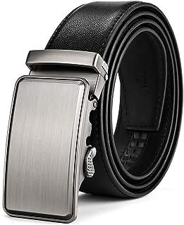 BOYOU Men's Leather Belt with Automatic Belt Buckle Belt for Men Black