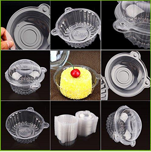Wegwerpdoos met transparante kunststof voor het opbergen van muffins, fruit, cupcakes, verpakking met 100 stuks