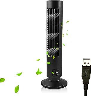 Galapar Ventilador Torre de pie silencioso, 2 velocidades sin Cuchilla Ventilador de Torre Alimentado por USB Ventilador de Aire Acondicionado Vertical para Dormitorio Interior Oficina en el hogar
