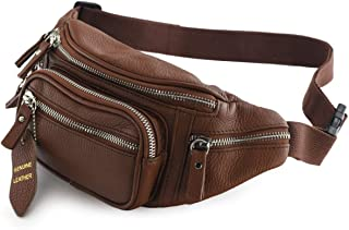 Fanny Pack Multifunction, Genuine Leather Hip Bum Bag, Travel Pouch for Men and Women- Multiple Pockets & Sturdy Zippers Ideal for Hiking Running and Cycling