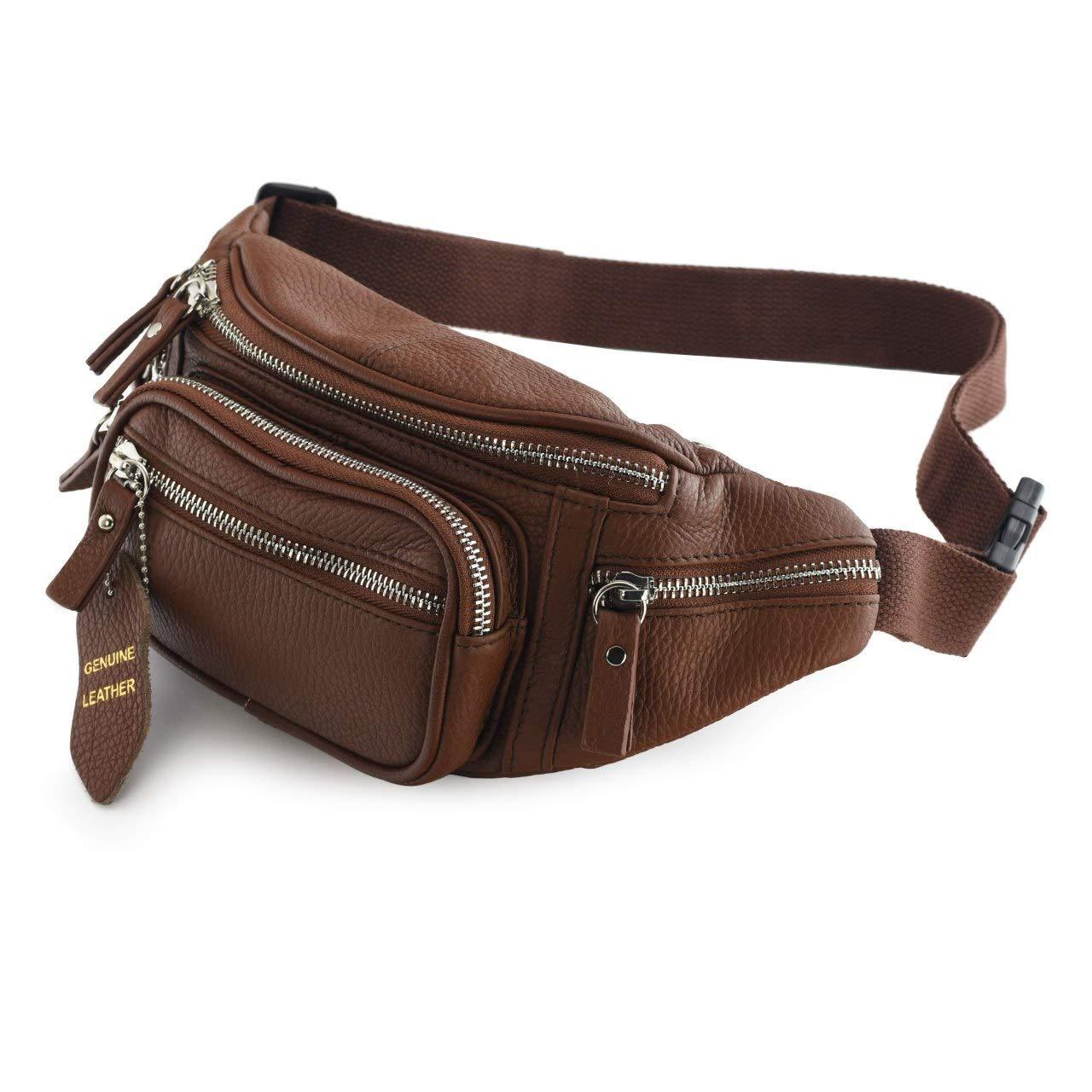 Nabob 皮革皮革皮革革包(黑色或棕色) - 男女多功能包旅行袋 - 多个口袋和结实的拉链 非常适合徒步骑行等穿着