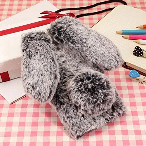 Jesiya for iPhone Xs Fur Rabbit Case,for iPhone X Case, Luxury Cute Toy Warm Handmade Bunny Furry Soft Rabbit Fur Hair Plush Ultra Thin Soft TPU Case for iPhone Xs/X