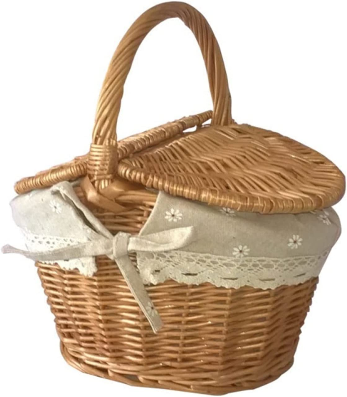 Cheap mail order shopping HXiaoF Wicker Handmade Woven Rattan Basket with and Doubl Handle Ranking TOP15