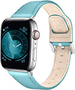 OULUCCI Compatible with iWatch Band 38mm 40mm, Top Grain Leather Replacement Band Strap Compatible with Apple Watch SE Series 6 5 4 (40mm) Series 3 2 1 (38mm)
