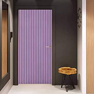 Door Wall Sticker Geometric Pale Colored Stripes with Vertical Borders Ornate Line Art Illustration Mural Wallpaper W38.5 x H79 Lilac Black White