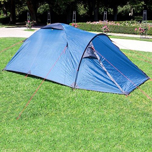 Wanderlust Kuppelzelt/Outdoor Zelt für 3 Personen - Ideal für Camping-Einsteiger und Festivalbesucher - Blau