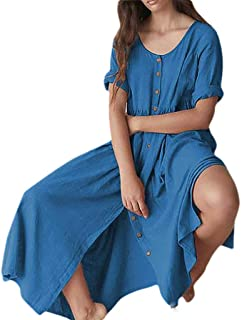 neveraway Womens Solid Button Linen Casual Baggy Style Pullover Loose Long Dress