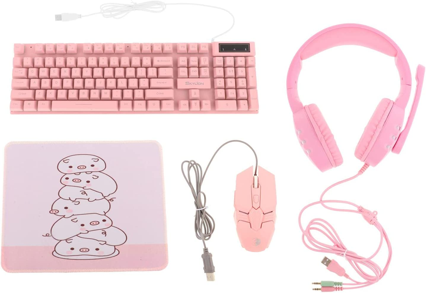 Kesoto Gaming Keyboard Mouse Headset & Mouse Pad Kit,Programmable Mouse, Wired USB Keyboards,Gaming Keyboard Combo, for Computer Desktop Gamer - Pink