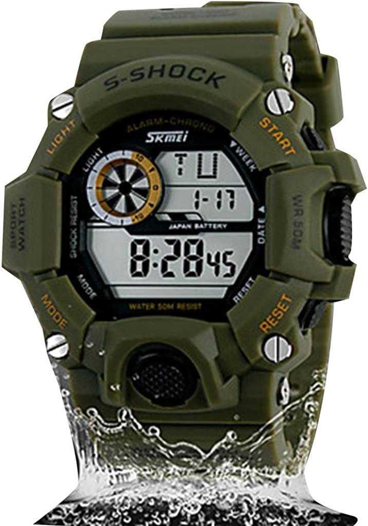 Soleasy Men's Regular store Military Popular popular Style Digital LCD Multi-Function Silicone