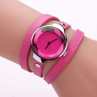 Stylish watch Women's Watch Quartz Wrist Watch with Round Dial Bracelet Watch with Long Leather Strap for Girl Female,Pink Watch
