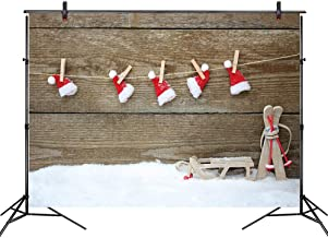 LB Christmas Backdrops for Photography 7x5ft Poly Fabric Christmas Hat on The Wood Wall Photo Backdrops for Home Party Pictures Customized Photo Background Studio Props