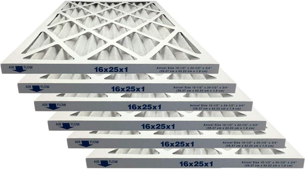 Atomic 16x25x1 Merv 8 Pleated Ac Furnace Filter - Case of 6