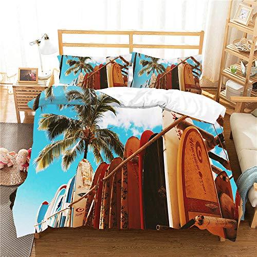 Juego de Ropa de Cama 3 Piezas Tabla de Surf Tres Piezas Home Bed Set Print Es Y Liviana Funda de Almohada de poliéster Ultra Suave Fundas 220cm x 230cm