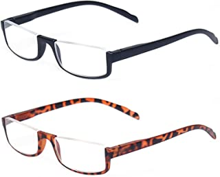 2 Pair Half Moon Frame Reading Glasses Spring Hinge Men and Women Readers