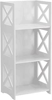 UNKU 3 Tiers Wood Plastic Composites, Storage Shelves, Bookcase , White