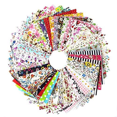 100 PCS Cotton Craft Fabric Bundle Squares Patchwork Lint Different Designs 4 x...