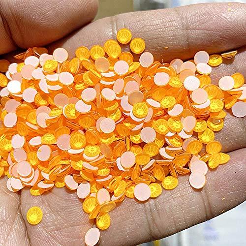 Noctilucent Glitter Strasssteine стразы Non Hot Fix Neon Strass Noctilucent Electric Glitter Stone Nail Art Dekorationen, Neon Orange Gelb, SS12-1440pcs